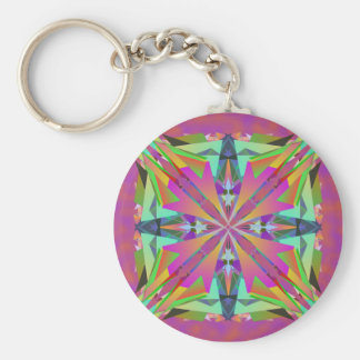 Abstract in Pink Basic Round Button Keychain