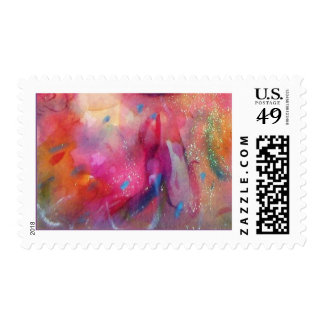 ABSTRACT IN PINK FUCHSIA BLUE POSTAGE