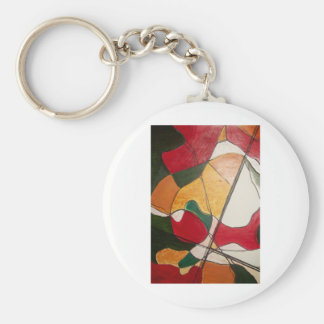 abstract in red and gold keychain