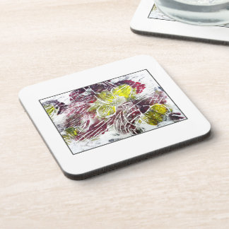 Abstract in Red and Yellow. Leaves. Coaster