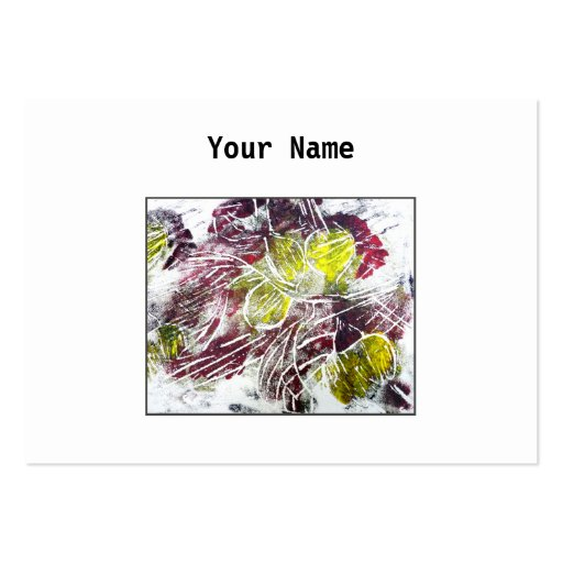 Abstract in Red and Yellow. Leaves. Large Business Card