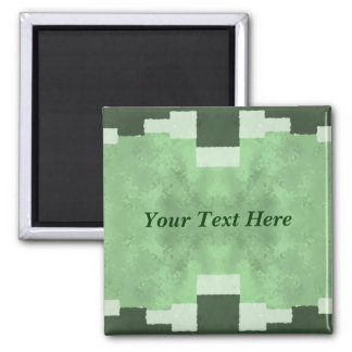 Abstract in Shades of Green 2 Inch Square Magnet