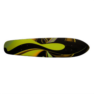 Abstract in yellow and black skateboard deck