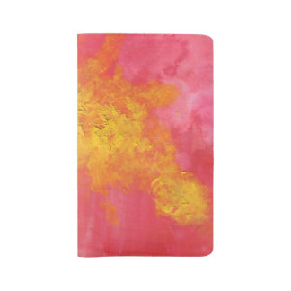 Abstract in Yellow and Red Surreal Splash of Sun Large Moleskine Notebook Cover With Notebook
