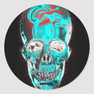 Abstract Indiglo Skull 2 Classic Round Sticker