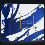 """Abstract Indigo Blue Brushstrokes 3 Ring Binder<br><div class=""""desc"""">Coordinates with the Abstract Indigo Blue Brushstrokes Business Card Template by 1201AM. Inky, indigo blue paint brushstrokes create an abstract backdrop on this personalized binder. Your name or business name is displayed in a faux gold box on the front for a modern aesthetic. A fun, eye-catching design for creative office...</div>"""