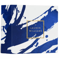 Abstract Indigo Blue Brushstrokes 3 Ring Binder