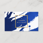 """Abstract Indigo Blue Brushstrokes Business Card<br><div class=""""desc"""">Inky, indigo blue paint brushstrokes create an abstract backdrop on this designer business card template. Your name or business name is displayed in a faux gold box on the front for a modern aesthetic. This double-sided card allows ample room on the backside for your contact info. A fun, eye-catching card...</div>"""