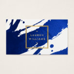 "Abstract Indigo Blue Brushstrokes Business Card<br><div class=""desc"">Inky, indigo blue paint brushstrokes create an abstract backdrop on this designer business card template. Your name or business name is displayed in a faux gold box on the front for a modern aesthetic. This double-sided card allows ample room on the backside for your contact info. A fun, eye-catching card...</div>"
