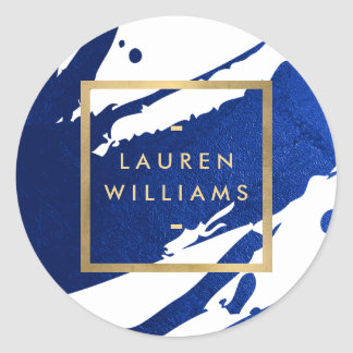 Abstract Indigo Blue Brushstrokes Classic Round Sticker