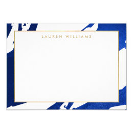 Abstract Indigo Blue Brushstrokes Flat Notecard