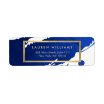 Abstract Indigo Blue Brushstrokes Label