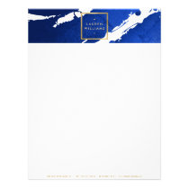 Abstract Indigo Blue Brushstrokes Letterhead