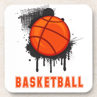 Abstract Ink Splotch with BASKETBALL and TEXT Beverage Coaster