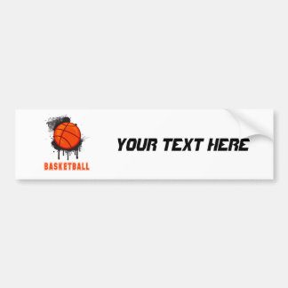 Abstract Ink Splotch with BASKETBALL and TEXT Car Bumper Sticker