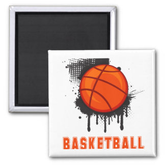 Abstract Ink Splotch with BASKETBALL and TEXT Magnet