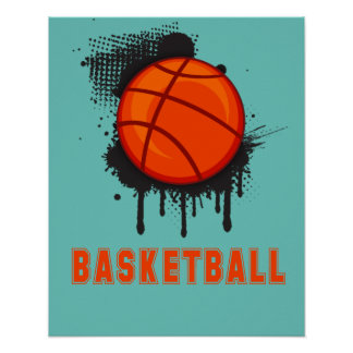 Abstract Ink Splotch with BASKETBALL and TEXT Poster