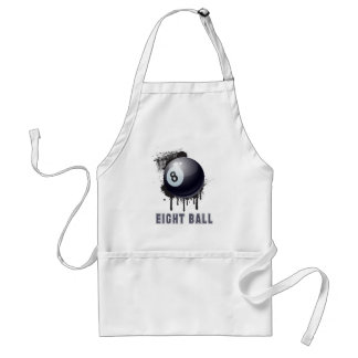 Abstract Ink Splotch with BILLIARD ball and TEXT Adult Apron