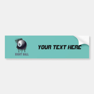 Abstract Ink Splotch with BILLIARD ball and TEXT Car Bumper Sticker