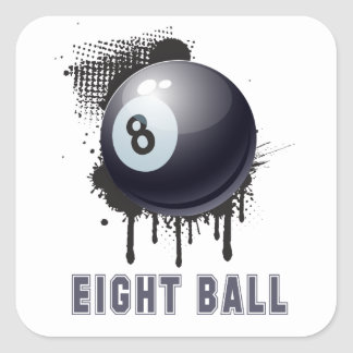 Abstract Ink Splotch with BILLIARD ball and TEXT Square Sticker