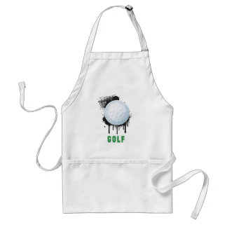 Abstract Ink Splotch with GOLF ball and TEXT Adult Apron