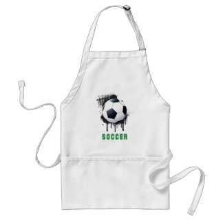 Abstract Ink Splotch with SOCCERT ball and TEXT Adult Apron