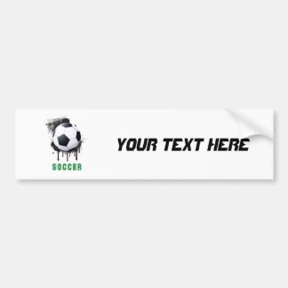 Abstract Ink Splotch with SOCCERT ball and TEXT Car Bumper Sticker