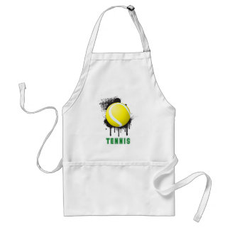 Abstract Ink Splotch with TENNIS ball and TEXT Adult Apron