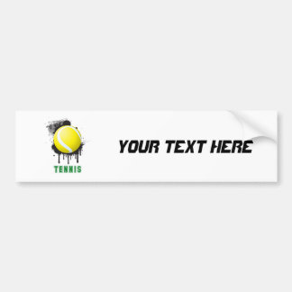 Abstract Ink Splotch with TENNIS ball and TEXT Car Bumper Sticker