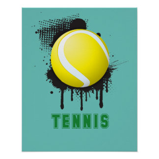 Abstract Ink Splotch with TENNIS ball and TEXT Poster