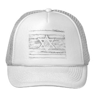abstract israel black and white trucker hat