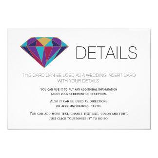 Abstract jewel gemstone wedding details insert card