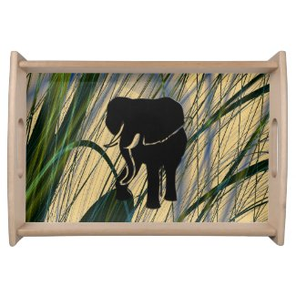 Abstract Jungle Elephant Serving Tray
