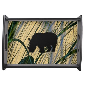 Abstract Jungle Rhinoceros Serving Tray