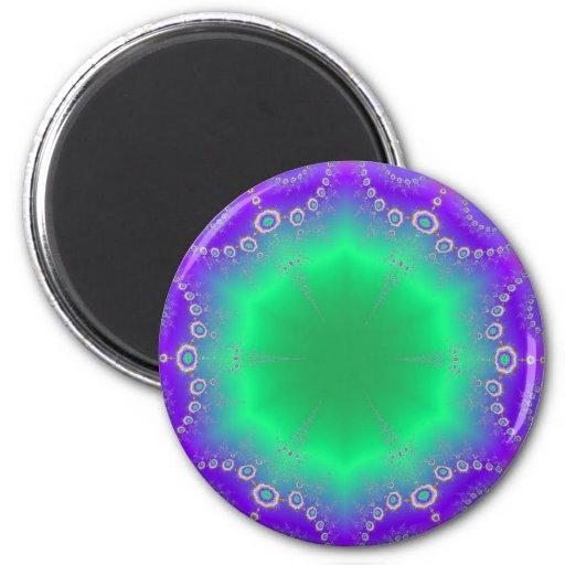 Abstract Kaleidescope Hippie Spiral Fractal Patter 2 Inch Round Magnet