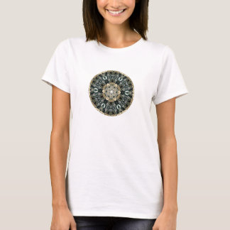 Abstract Kaleidoscope Design on Lime T-Shirt