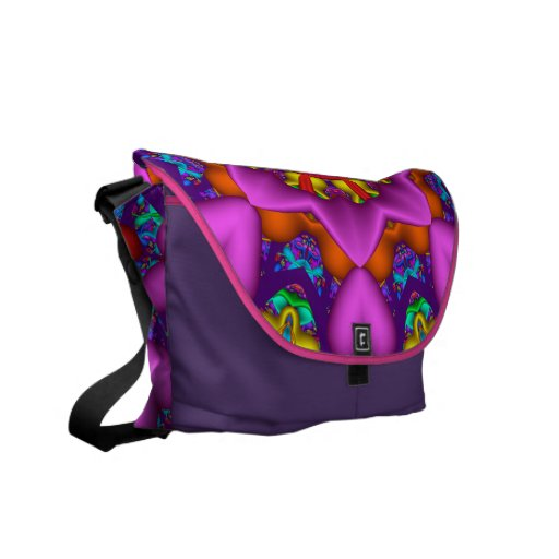 Abstract kaleidoscope Messenger bag with hearts