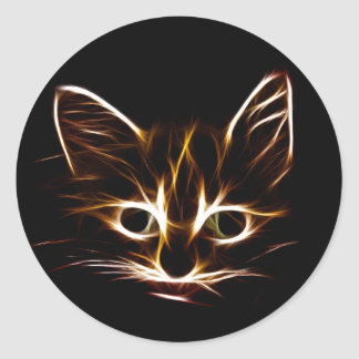 Abstract kitty classic round sticker
