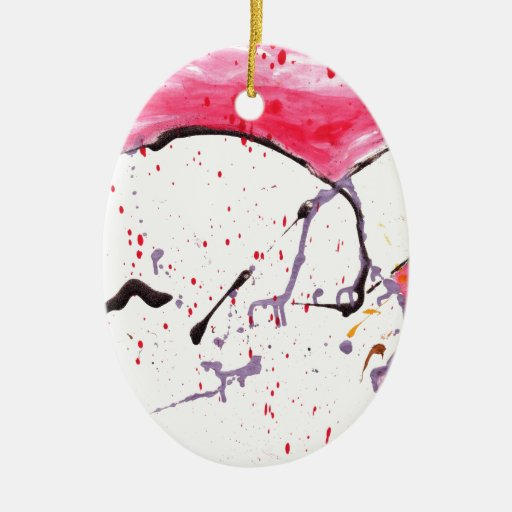 Abstract Kitty Double-Sided Oval Ceramic Christmas Ornament