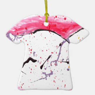 Abstract Kitty Double-Sided T-Shirt Ceramic Christmas Ornament