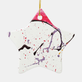 Abstract Kitty Double-Sided Star Ceramic Christmas Ornament