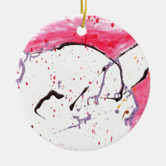 Abstract Kitty Double-Sided Ceramic Round Christmas Ornament