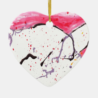 Abstract Kitty Double-Sided Heart Ceramic Christmas Ornament