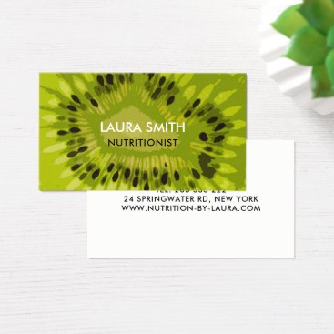 Professional Business Abstract Kiwi Fruit Business Card - Nutritionists