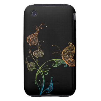 Abstract Lacey Butterfly and Floral Tough iPhone 3 Cover