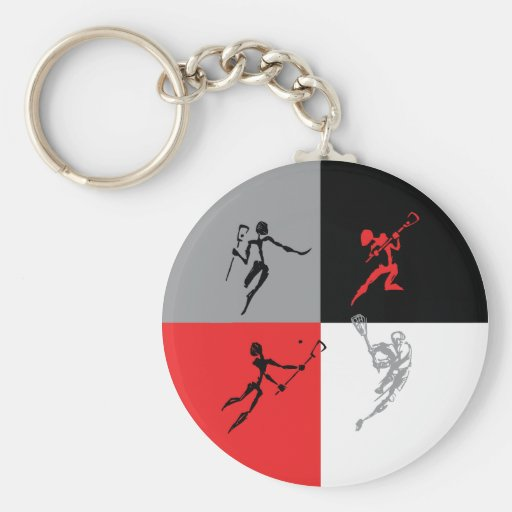 Abstract Lacrosse Basic Round Button Keychain