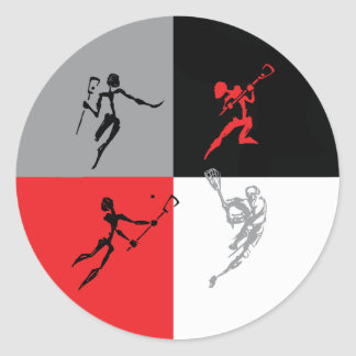 Abstract Lacrosse Classic Round Sticker
