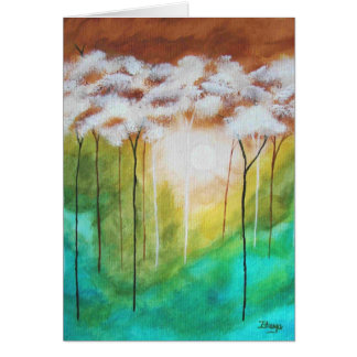 Abstract Landscape Art Dawn Light Skinny Trees Greeting Card