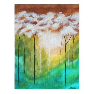 Abstract Landscape Art Dawn Light Skinny Trees Postcard