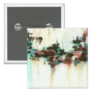 Abstract Landscape Art Painting Red Teal Brown Button